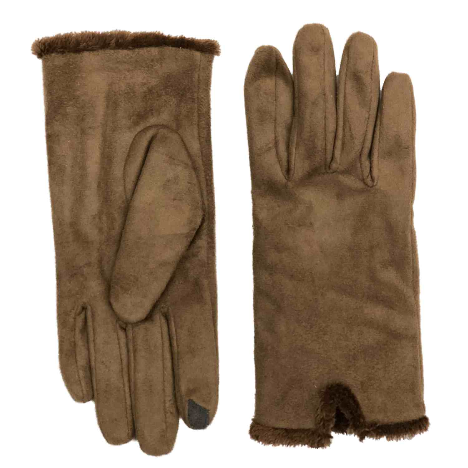 Isotoner Smart Touch Womens Caramel Brown Brushed Mircofiber Gloves Smartouch