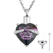 HEQU Heart Cremation Urn Necklace For Ashes Urn Jewelry Memorial Pendant With Fill Kit - Always On My Mind Forever In My Heart