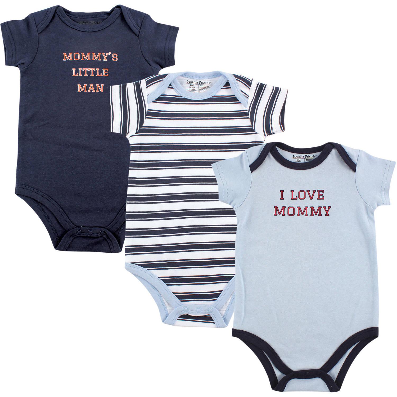 Luvable Friends Baby Boy Bodysuits, 3-Pack