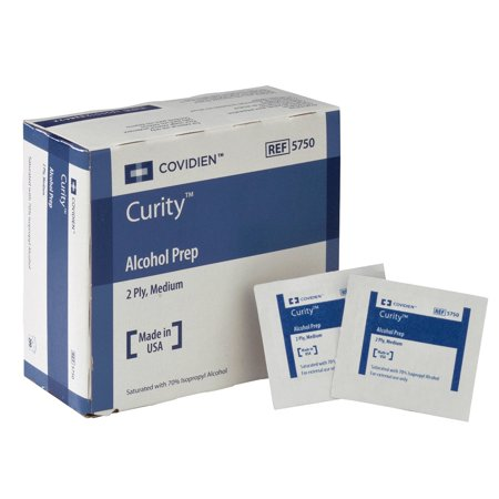Covidien 5750 Curity Alcohol Prep, Sterile, Medium, 2-ply (Pack of 200) ()
