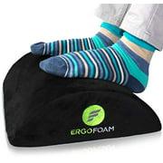 ErgoFoam Ergonomic Foot Rest Under Desk | Premium Velvet Soft Foam Footrest for Desk | Most Comfortable Desk Foot Rest in The World for Lumbar, Back, Knee Pain | Foot Stool Rocker (Black)