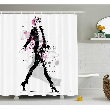 Fashion Shower Curtain Glamorous Stylish Sexy Woman Model On Catwalk Runway In Vintage Clothes Design Fabric Bathroom Set With Hooks Black Pink