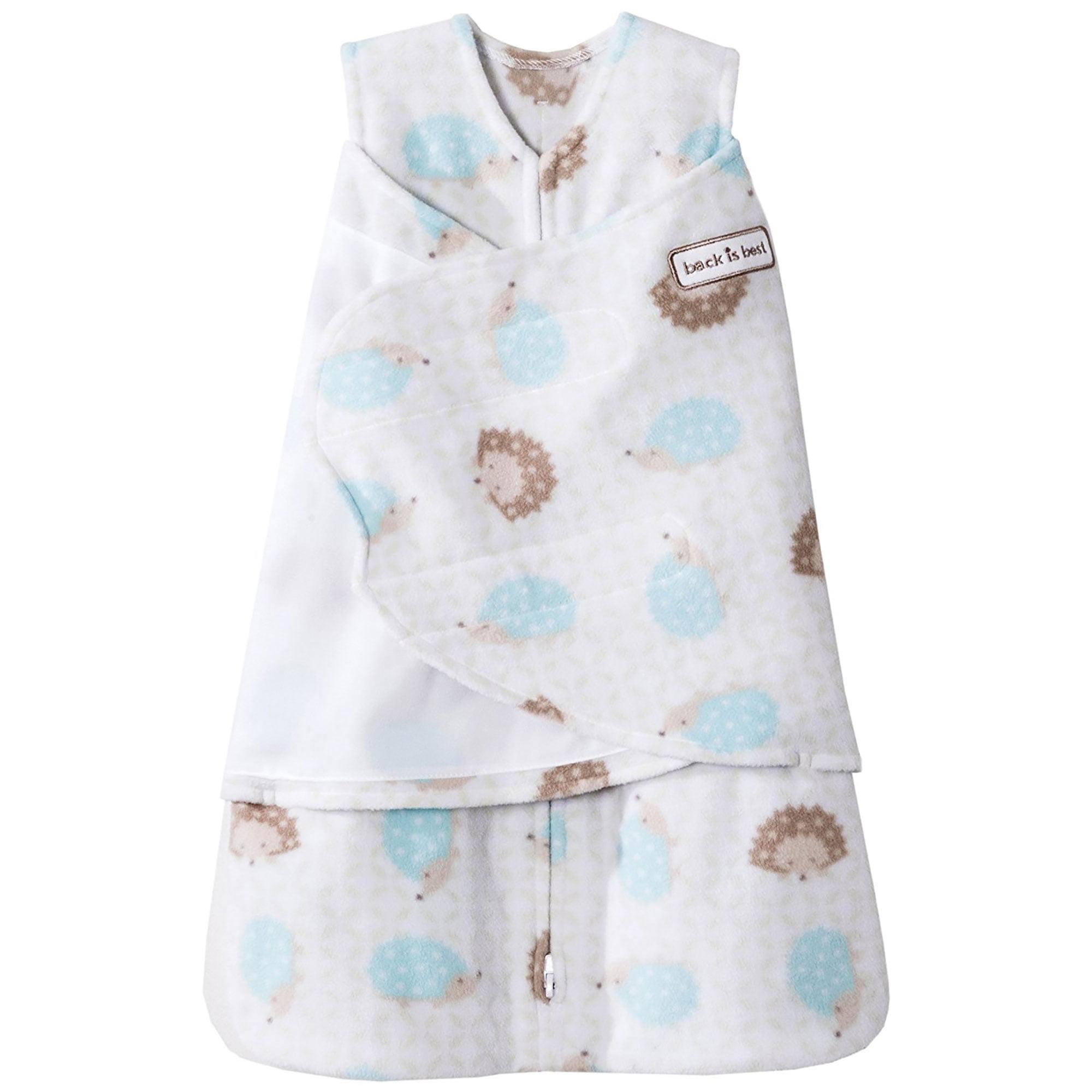 HALO Baby SleepSack Micro-Fleece Swaddle, Blue/Tan Hedgehog, Small