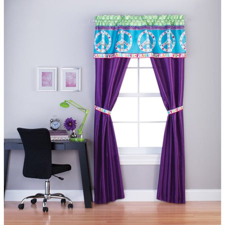 your zone peace and love girls bedroom curtain panel set