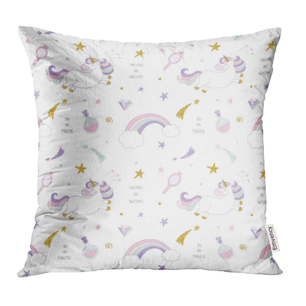 YWOTA Unicorn Magic with Rainbow Stars and Diamonds Pastel Colors and Glitter Pillow Cases Cushion Cover 18x18 inch