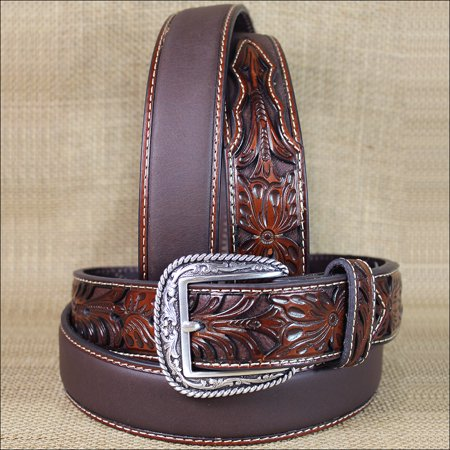 32 INCH WESTERN ARIAT SILVER BUCKLE LEATHER MENS BELT TOOLED FLORAL TAN