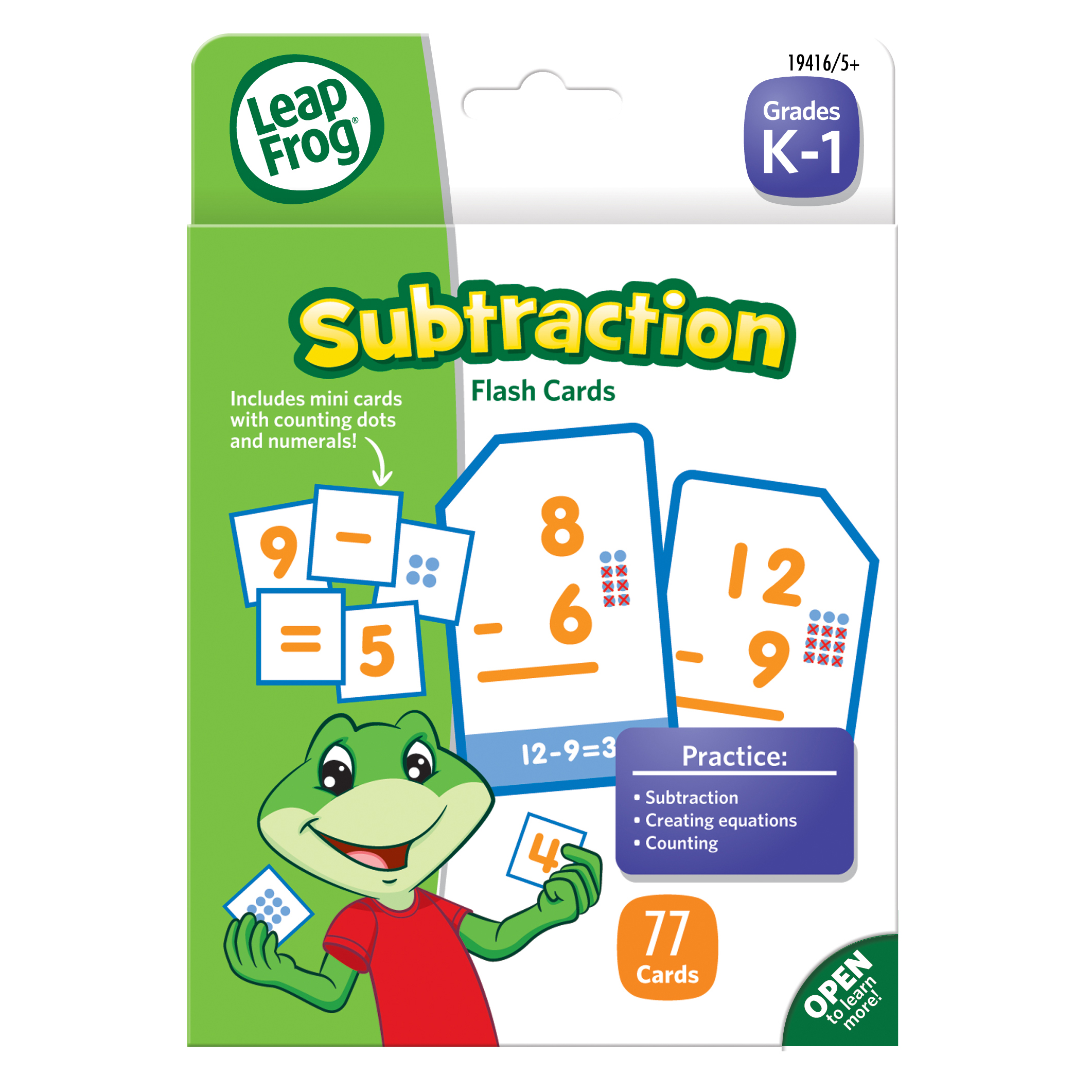 "The Board Dudes LeapFrog Flash Cards, Subtraction, 4-3/4"" x 6"", 80 Cards"