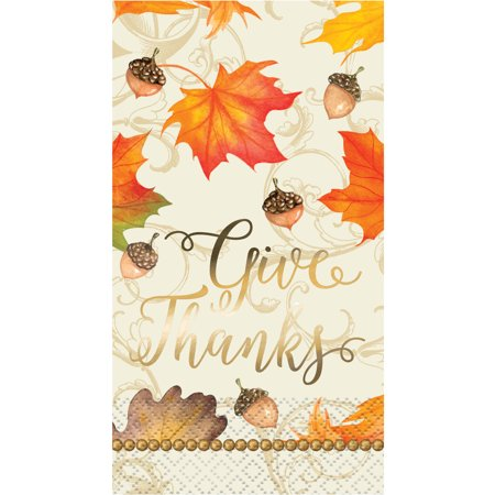 Gold Fall Leaves Thanksgiving Paper Guest Napkins, 7.75 x 4.5in, 16ct](Thanksgiving Napkins Paper)