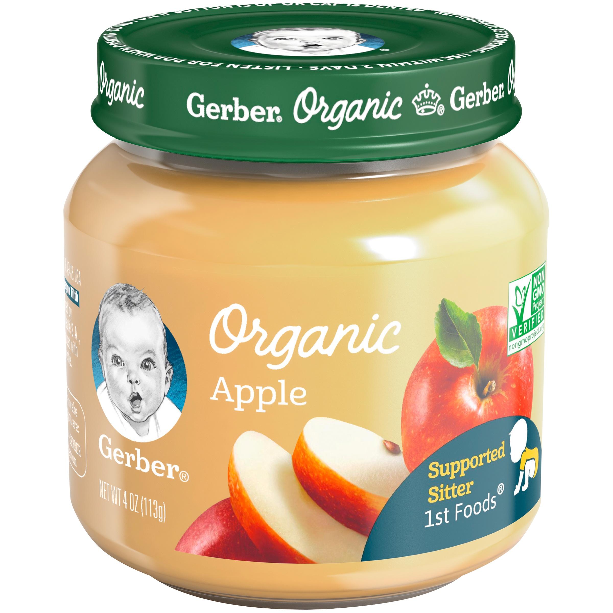 (Pack of 6) Gerber Organic 1st Foods Baby Food, Apple, 4 oz Jars - Walmart.com