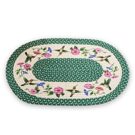 Hummingbird Accent (Hummingbird Flower Braided Accent Rug - Spring Décor for Any Room in Home)