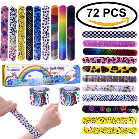 Slap Bracelets Party Favors Pack with Colorful Hearts Animal Emoji ,Party Wrist Strap for Adult Teens Kids,Great Party Prizes for Birthday,Easter Toys - Cool Halloween Party Prizes