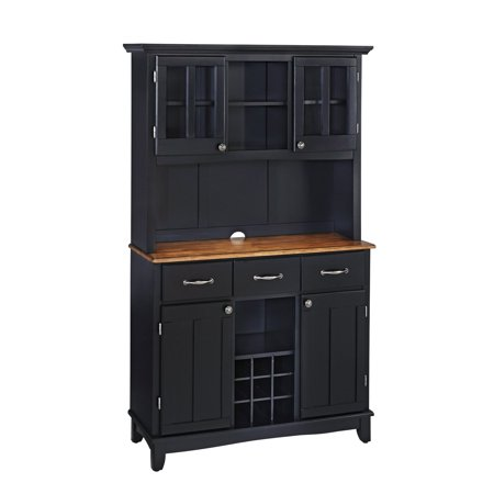 Home Styles Large Buffet with Two Glass Door Hutch, Black with Cottage Oak Top Cabinet Oak Veneer Buffet China