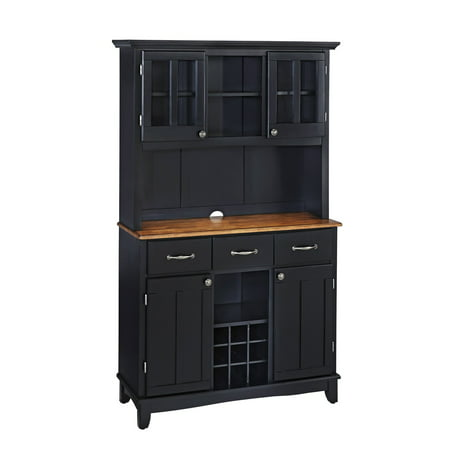 Home Styles Large Buffet & Two-Door Hutch, Black Finish with Stainless-Steel Buffet Top