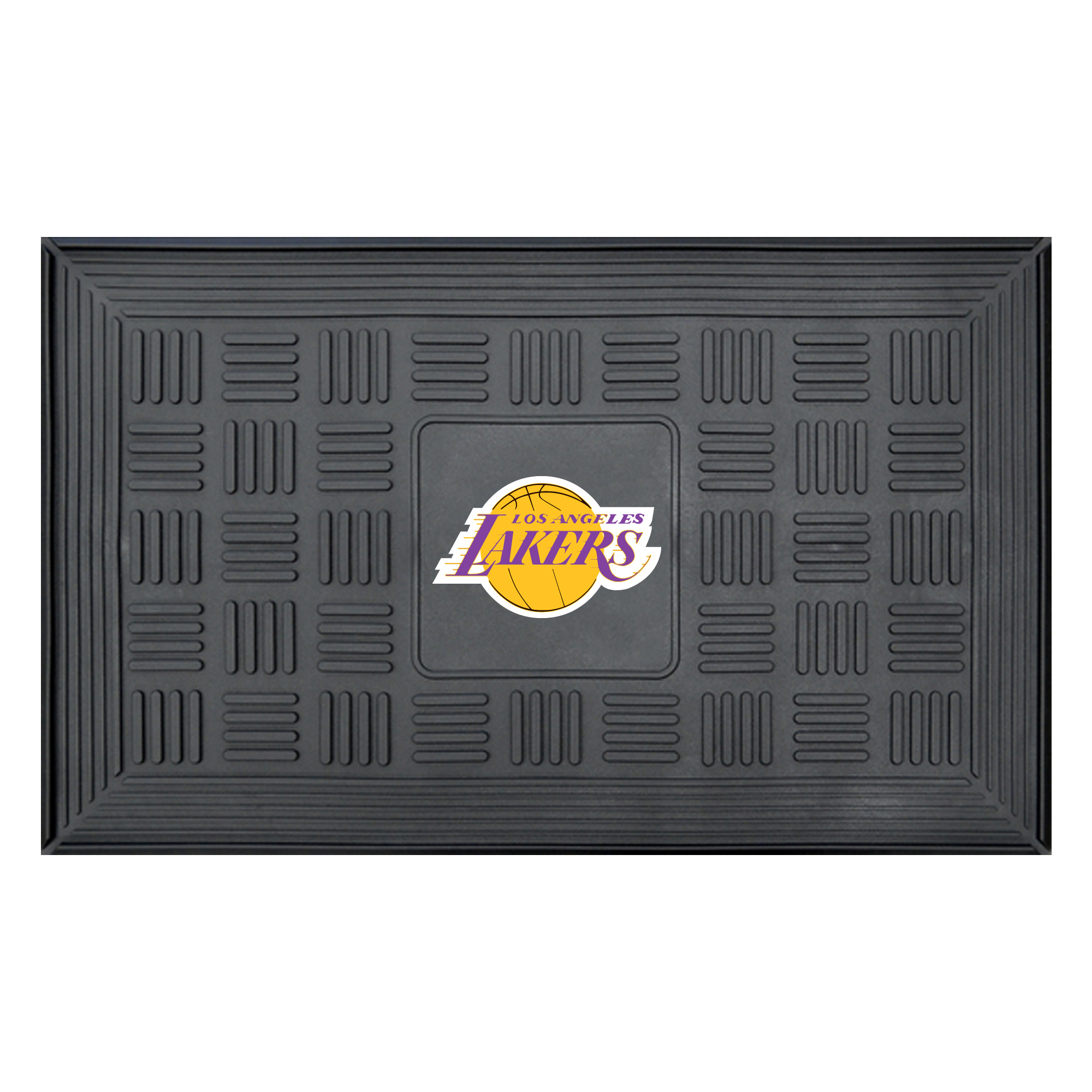 "Los Angeles Lakers 19"" x 30"" Vinyl Medallion Door Mat - Black - No Size"