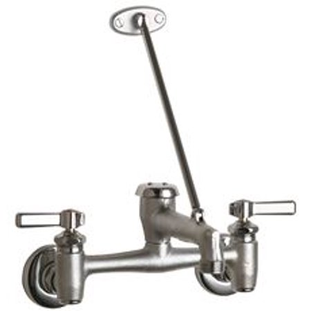 Chicago Faucets Wall-Mounted Mop Sink Faucet With Adjustable Centers, Rough Chrome, Lever Handles