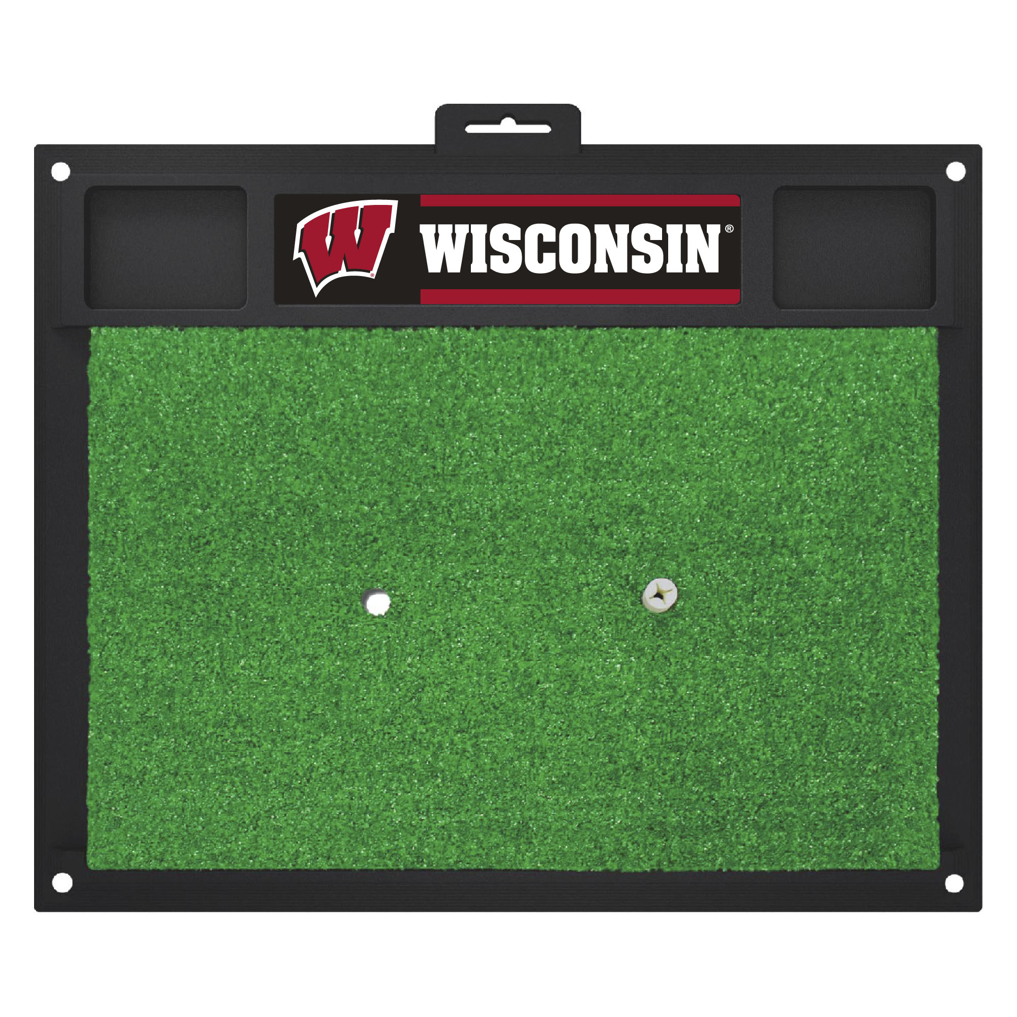 15517 Fanmats College NCAA University of Wisconsin 20 Inch x 17 Inch heavy duty vinyl Removable rubber Golf Hitting Mat