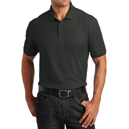 Mafoose Men's Short Sleeves Tall Core Classic Pique Polo for Everyday Wear Deep Black LT
