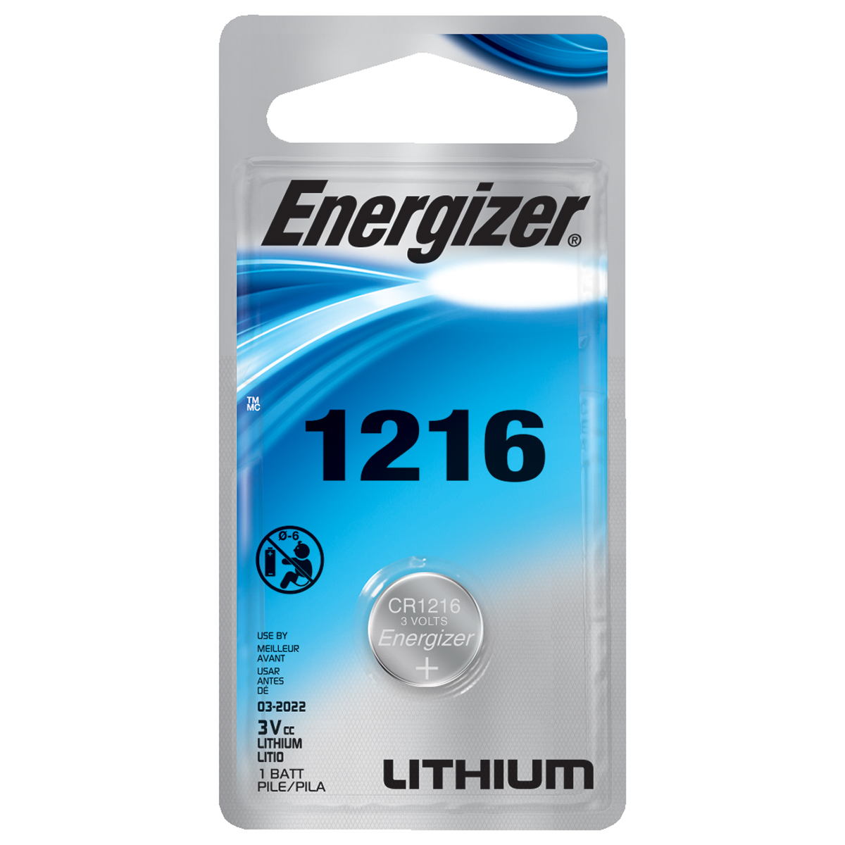 Energizer Lithium Button Cell Battery, ECR1216 3V, 1-Pack