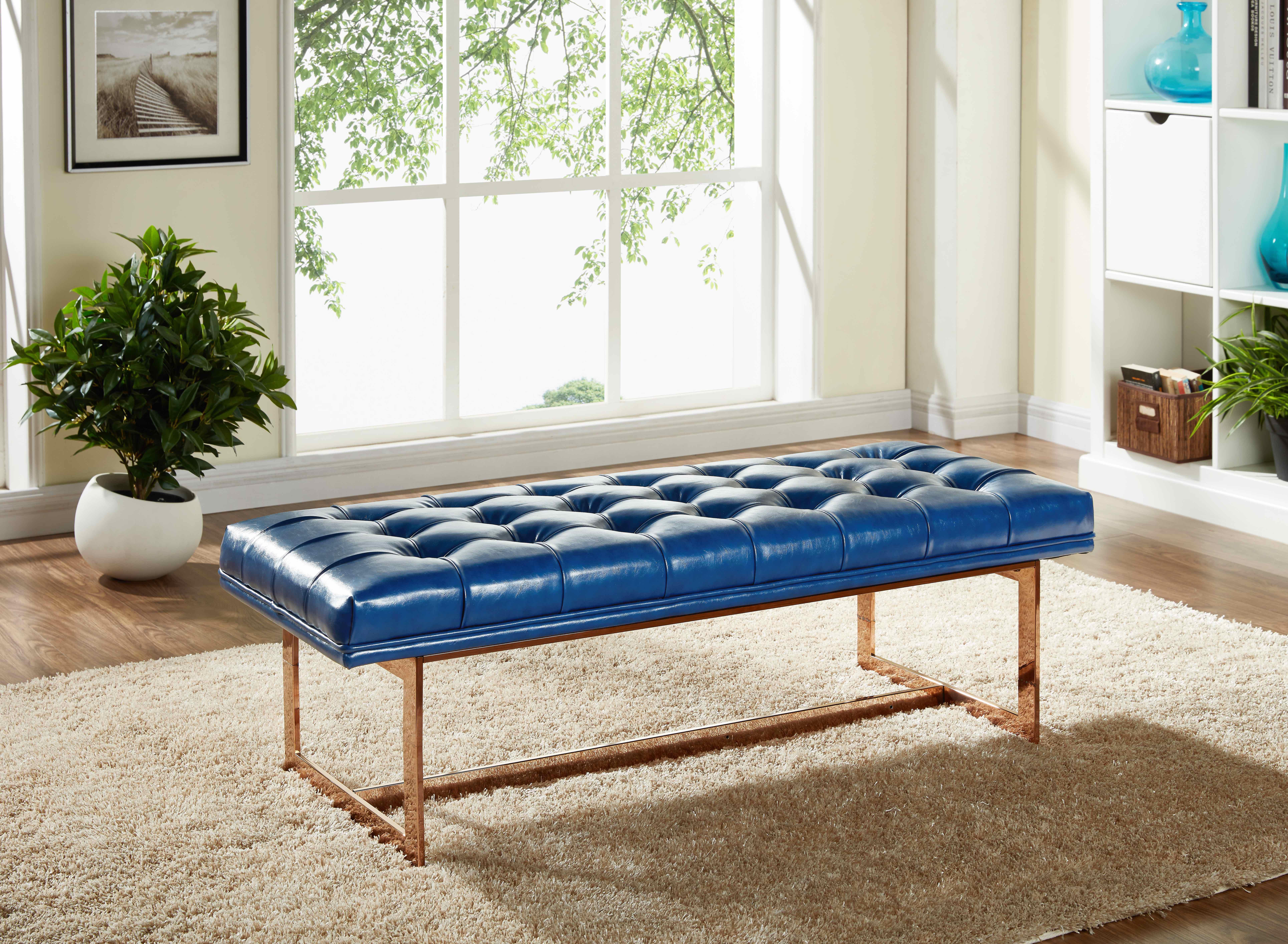 Amazing Gavin Navy Leather Bench Ibusinesslaw Wood Chair Design Ideas Ibusinesslaworg