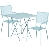 Flash Furniture 28'' Square Indoor-Outdoor Steel Folding Patio Bistro Set with 2 Square Back Chairs, Multiple Colors