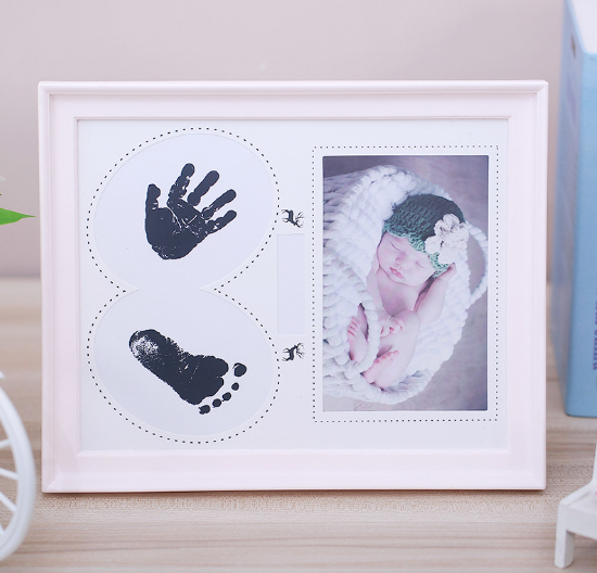 Baby Picture Frame Handprint Footprint – Cast Clay Imprints of Your Baby's Hands & Feet in Our Cute Wooden Photo Frame Keepsake Kit – Ideal Baby Shower Gift for the New Mom, Dad and Grandparents(Pink)