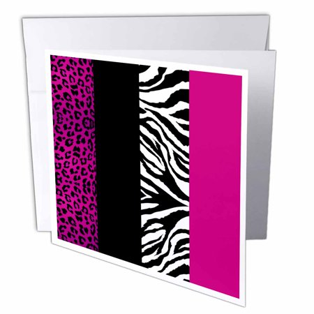 3dRose Pink Black and White Animal Print - Leopard and Zebra, Greeting Cards, 6 x 6 inches, set of 12 ()