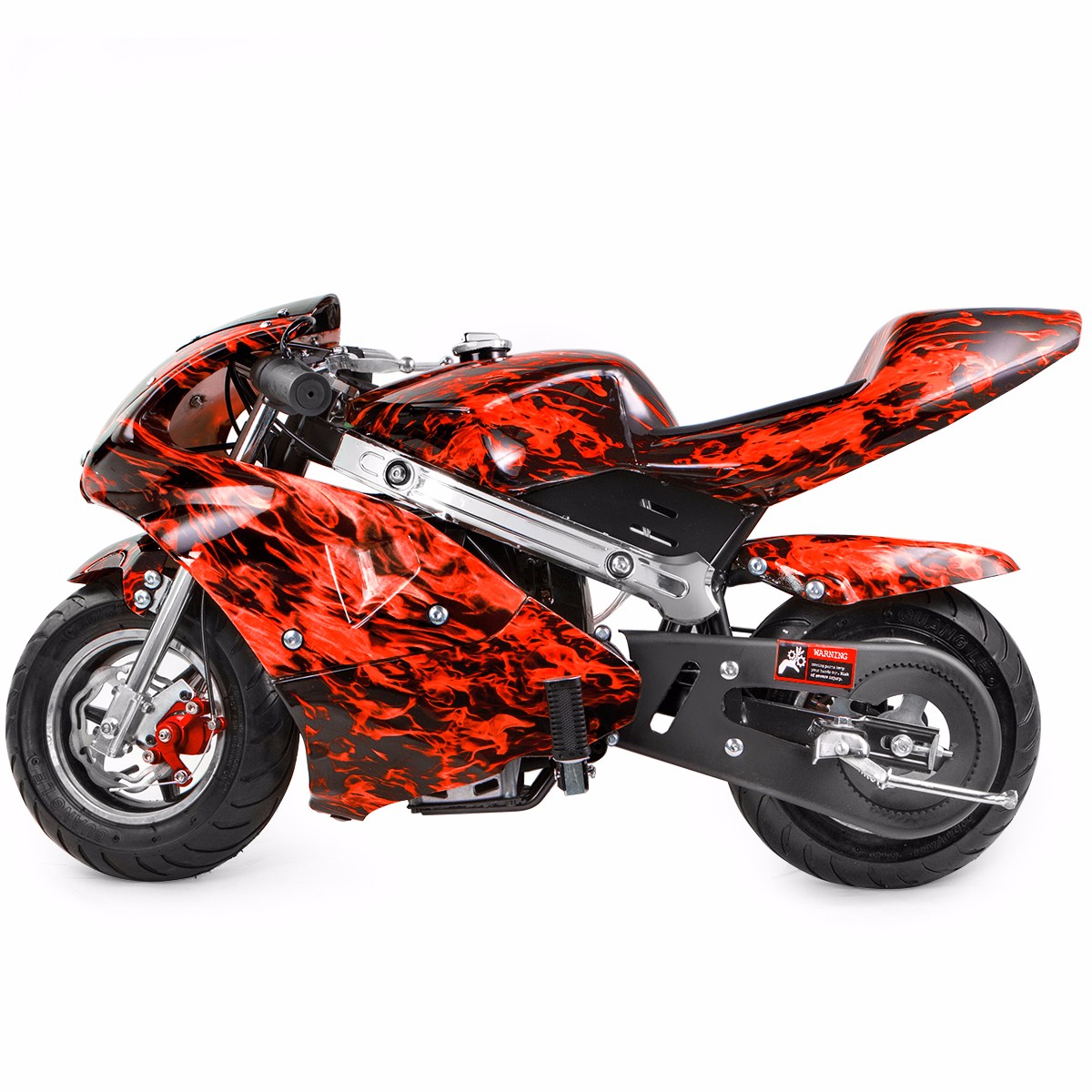 XtremepowerUS Gas Pocket Bike Motorcycle 40cc 4 Stroke Engine, Red Frame