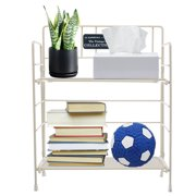 9''Dx5''Wx11''H 4 Tier Wire Shelving Rack Foldable , Black/White