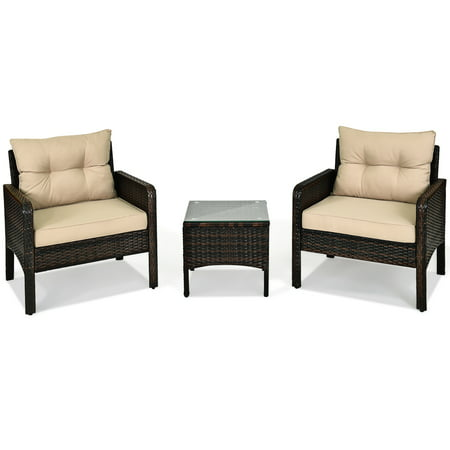 Costway 3PCS Outdoor Rattan Conversation Set Patio Garden Furniture Cushioned Sofa Chair - image 8 of 10