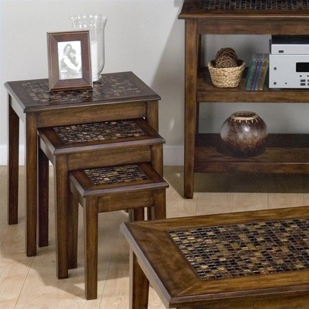 Art Deco Nesting Tables - Jofran Baroque Nesting Chairside Table with Mosaic Tile Inlay in Brown