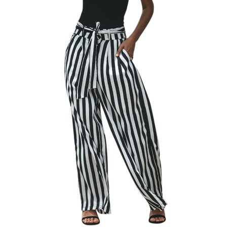 0aa140b9dbc839 cottcuboaba - Women's Vertical Stripes Belt Wide Leg Pants,Black and White  - Walmart.com