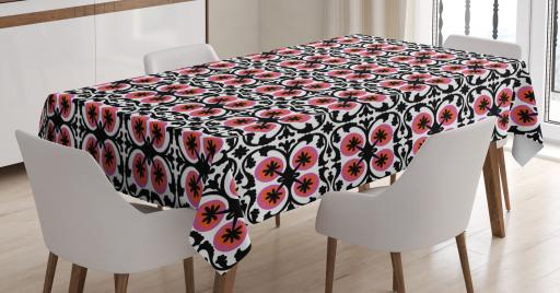 Boho Tablecloth, Suzani Pattern Oriental Floral Design With Sketch Style  Swirls Petals, Rectangular Table