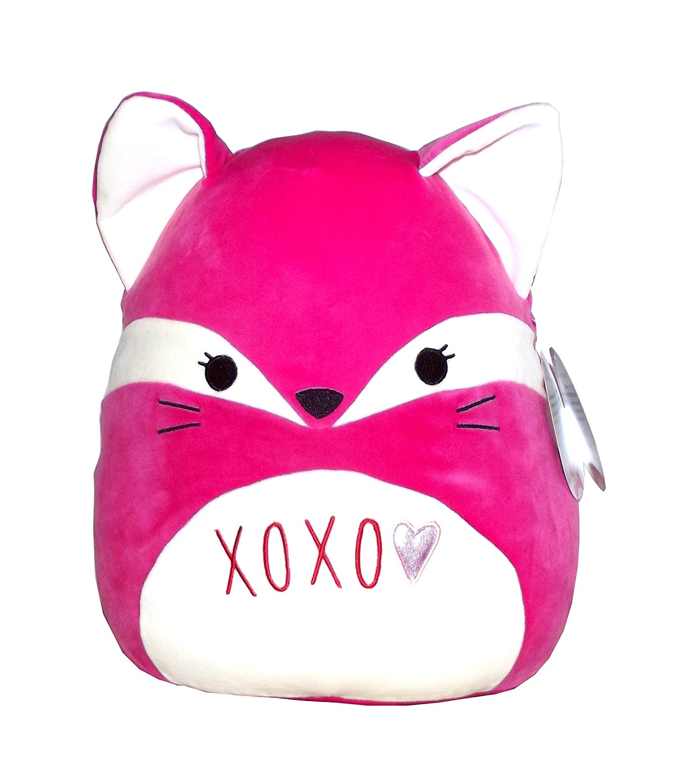 "Kellytoy Squishmallows Valentine's Day Themed Pillow Plush Toy (Pink ""XOXO"" Fox, 13 inches)"