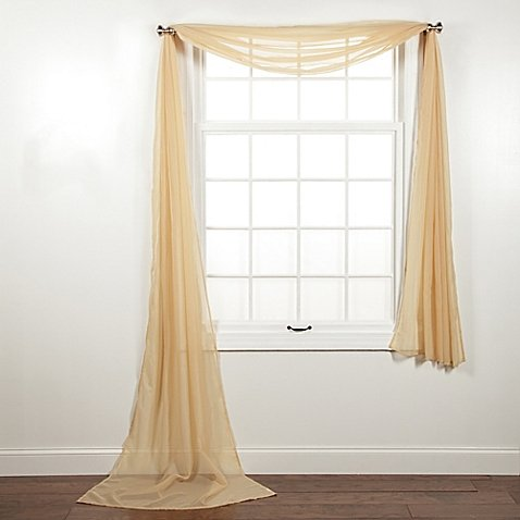 "1 PC SOLID GOLD SCARF VALANCE SOFT SHEER VOILE WINDOW PANEL CURTAIN 216"" LONG TOPPER SWAG"