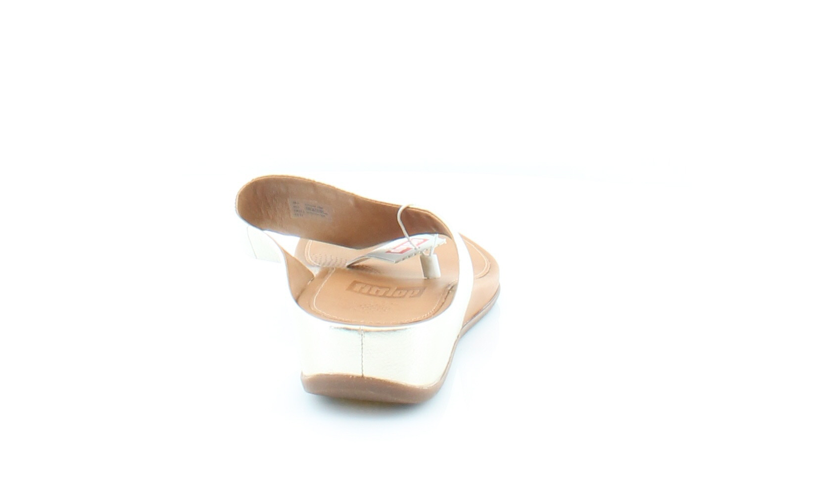 fitflop trade; womens banda leather toe-thong sandals pale gold size 5