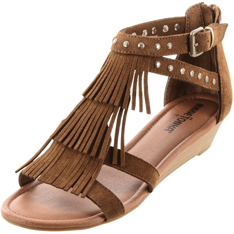 Minnetonka Womens Monaco Dusty Brown Suede Fringe Sandals by MINNETONKA