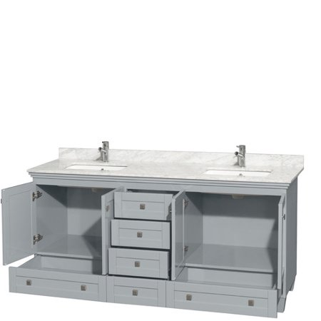 Wyndham Collection Acclaim 72 inch Double Bathroom Vanity in Oyster Gray, White Carrera Marble Countertop, Undermount Square Sinks, and No Mirrors ()
