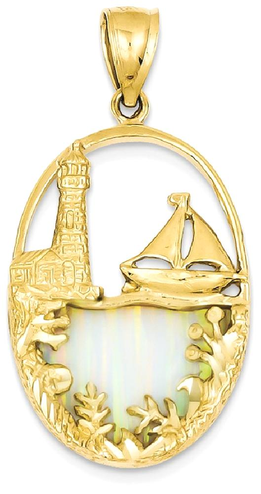 IceCarats 14k Yellow Gold Imitation Opal Lighthouse Sailboat Pendant Charm Necklace Sea Shore Boating Fine Jewelry Ideal... by IceCarats