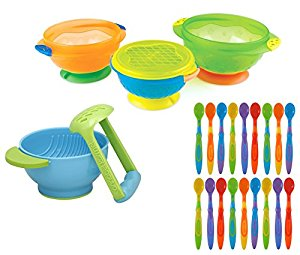 Munchkin 3 Count Stay Put Suction Bowl with Soft-Tip Spoons (18 Pack) and Mash & Serve Bowl by Munchkin
