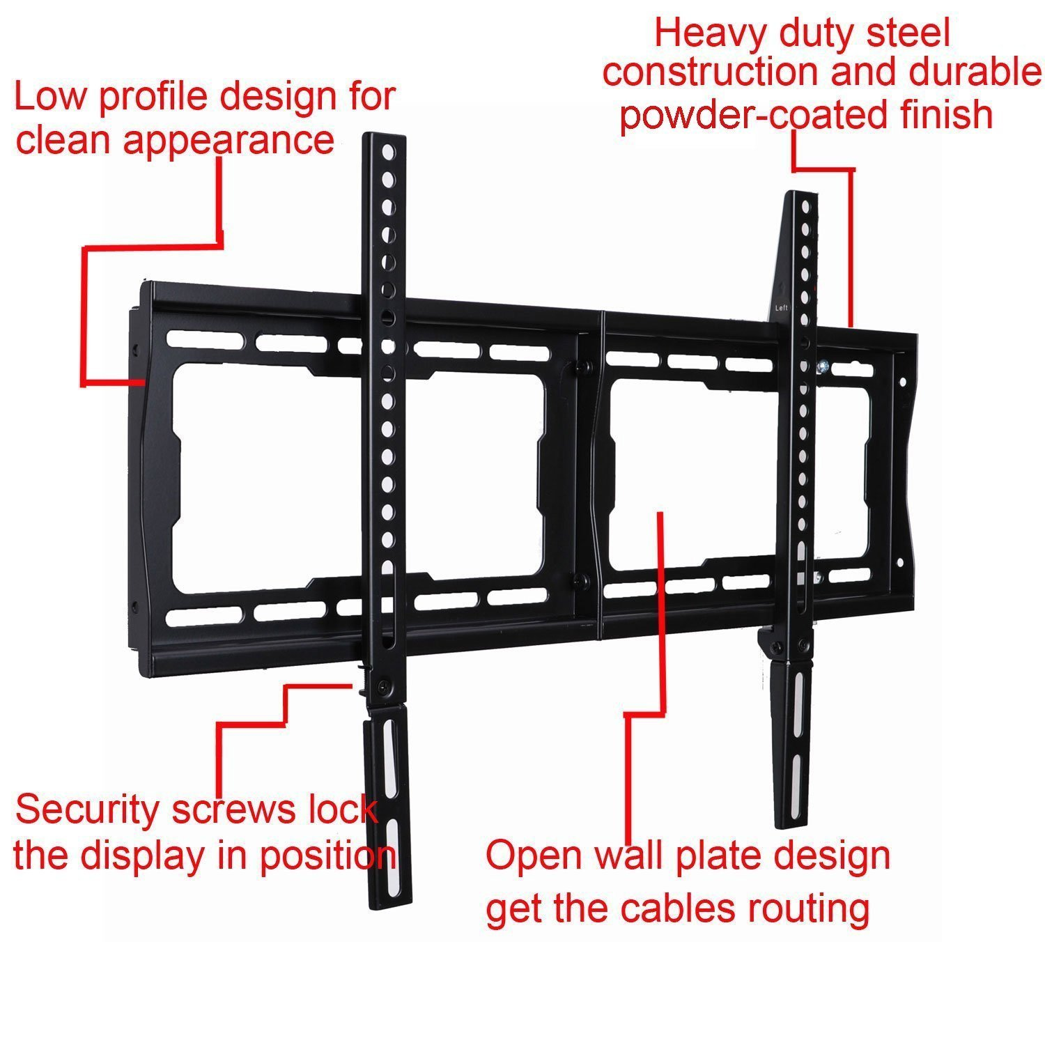 Low Profile Tv Wall Mount Bracket For Most 32 75 Lcd Led Plasma Hdtv Compatible With Sony Bravia Samsung Lg Haier Panasonic Vizio Sharp Aquos