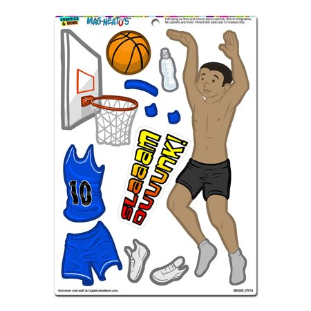 Boy Basketball Player Dress-Up - Sports Funny MAG-NEATO'S(TM) Refrigerator Magnet Dress Basket