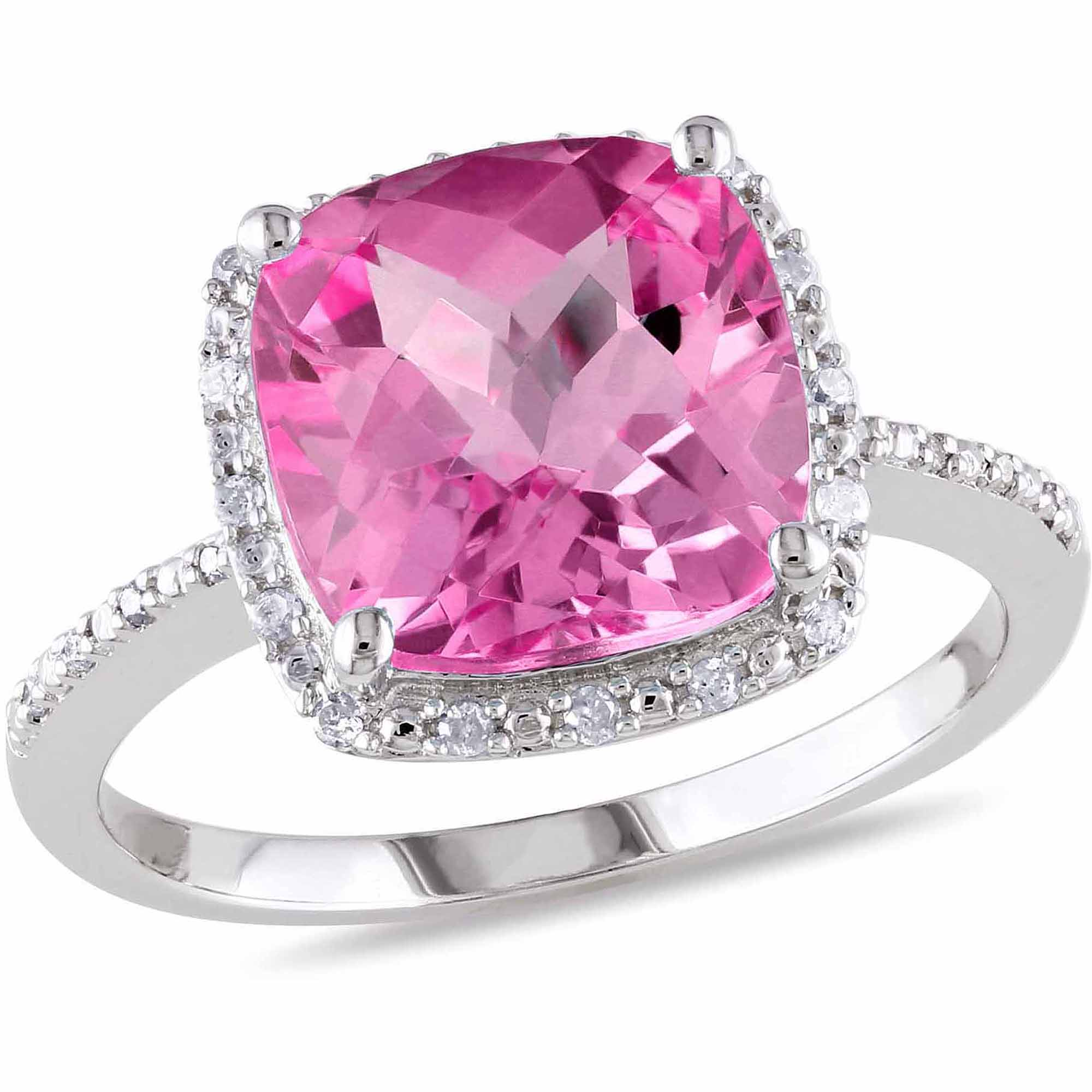 5-3 4 Carat T.G.W. Cushion-Cut Created Pink Sapphire and Diamond-Accent Halo Cocktail Ring by Delmar Manufacturing LLC