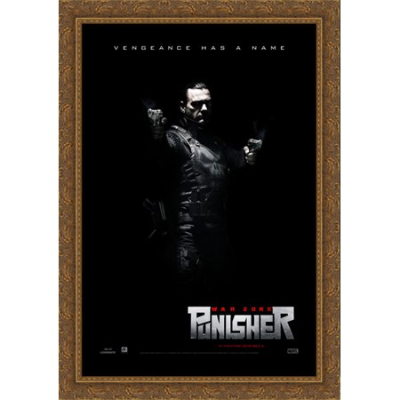 Punisher War Zone 28x40 Large Gold Ornate Wood Framed Canvas Movie Poster - Zoe Gold