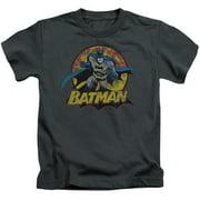 Jla - Batman Rough Distress - Juvenile Short Sleeve Shirt - 4