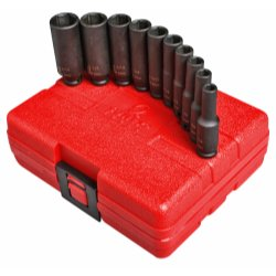 10PC 1 4 DR DEEP SAE MAGNETIC IMPACT SOCKET SET