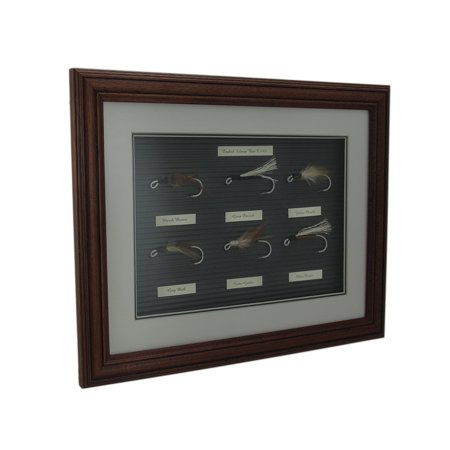 (English Salmon Bait C 1900 Fly Fishing Lure Collection Wood Frame Display)
