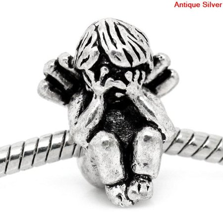 Angel Bracelet (Antique Silver Design Angel Crying Charm Bead. Compatible With Most Pandora Style Charm)