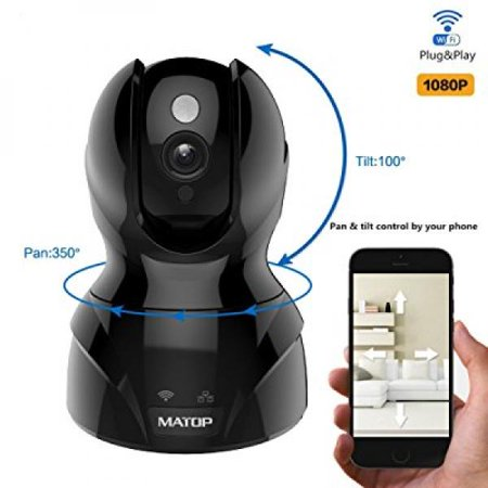Matop Pro 1080P Hd Cloud Ip Camera Pan   Tilt Control  Wi Fi Ethernet  Two Way Audio  Night Vision Surveillance Security Camera Free App  1080P  Black
