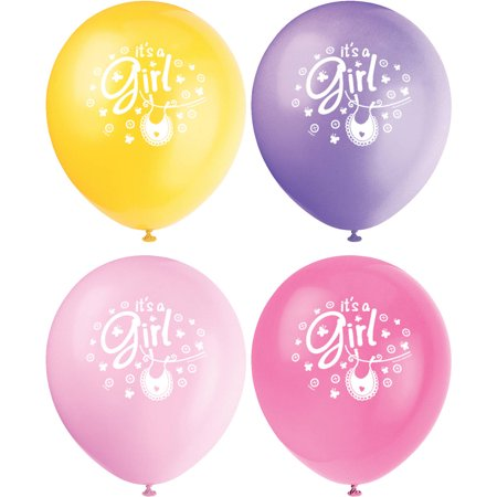 Baby Shower Latex (Latex Clothesline Pink Baby Shower Balloons, 12 in, Assorted, 8ct)