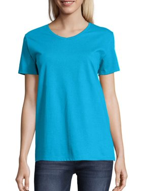 Hanes Women's Relaxed Fit Tagless ComfortSoft Short Sleeve V-neck T-Shirt